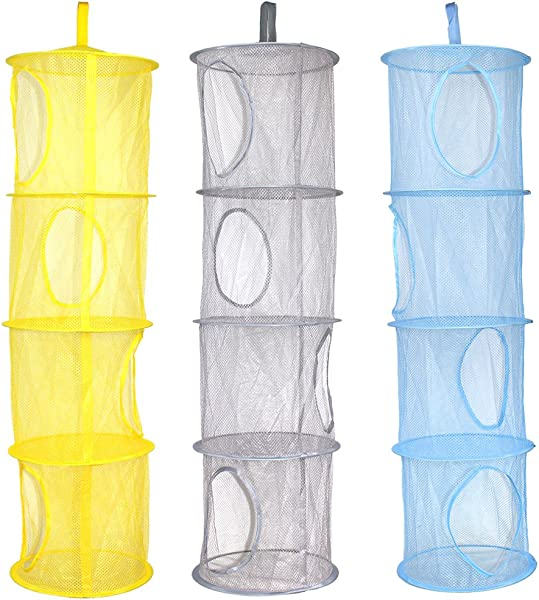 KisSealed 3 Pcs Hanging Mesh Space Foldable 4 Compartments Storage Basket Saver Bags Organizer For Travel Kids Room Bathroom And More