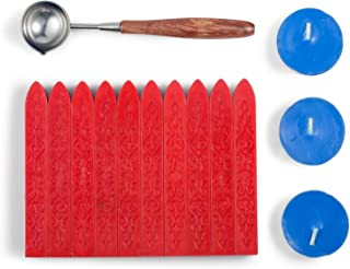 Mceal Sealing Wax Set Non-Wicked Magic Arrow Sealing Wax with Retro Rosewood Handle Wax Seal Spoon and Candles 14 Pieces(Barn Red)