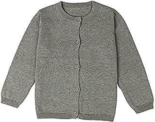 3ef97b88d4 JELEUON Little Girls Cute Crew Neck Button-Down Solid Fine Knit Cardigan  Sweaters