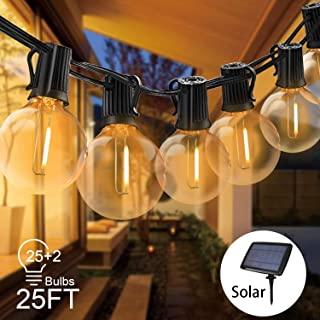Svater Solar String Lights 25FT with 27 LED Bulbs Waterproof, Hanging Indoor/Outdoor Garden Lights for Patio/Bistro/Cafe String Lights,Create Ambience On Your Porch -Warm White