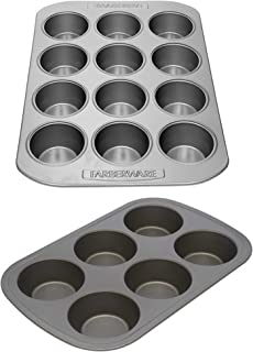 Mainstays Jumbo Muffin Pan bundle with Farberware |12-Cavity Muffin Pan| Gray|