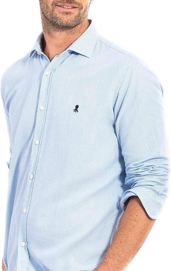 EL PULPO Camisa PatadeGallo Azul Hombre M Azul: Amazon.es: Ropa