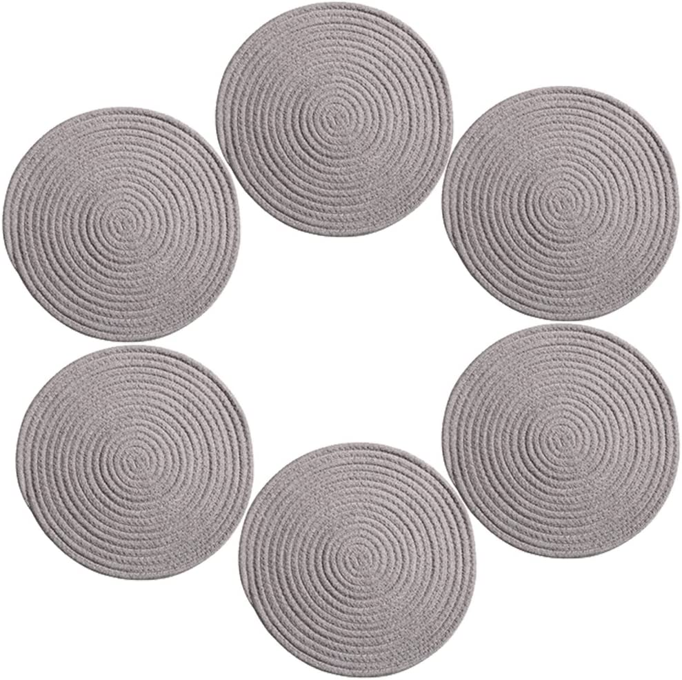 9 inch Grey Round Place Mats, Cotton & Polyester Placemats for Dining  Table,Heat Resistant Placemats, Stain Resistant Washable Kitchen Table Mats