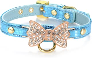 LOVPE Gold Bling Diamond Giltter Leather Fashion Collar with Ring for Tags for Small Dogs,Cat,Puppy and Kitty Walking Travel Party Gifts Tedd, Poodle Dog,Bulldog and Yorkshire Terrier (S, Blue)