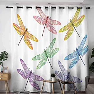 Onefzc Window Curtain Panel,Country Decor Collection Group of Dragonflies with Colored Patches and Elongated Body Flat Winged Wild Animal Design,Room Darkening, Noise Reducing,W84x84L,Multi