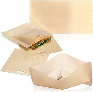 COM-FOUR® Ensemble de 5 sacs de pain grillé, sacs de pain grillé réutilisables antiadhésifs, pour grille-pain - va au lav...