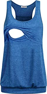 Larenba Women's Maternity Loose Comfy Pull-up Nursing Tank Tops for Breastfeeding