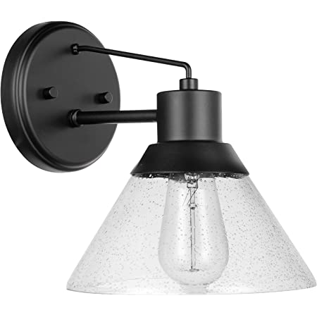 "Amazon Brand – Stone & Beam Contemporary Outdoor Wall Sconce with Clear Seeded Glass Shade, Vintage Edison Bulb Included, 9.1""H, Matte Black"