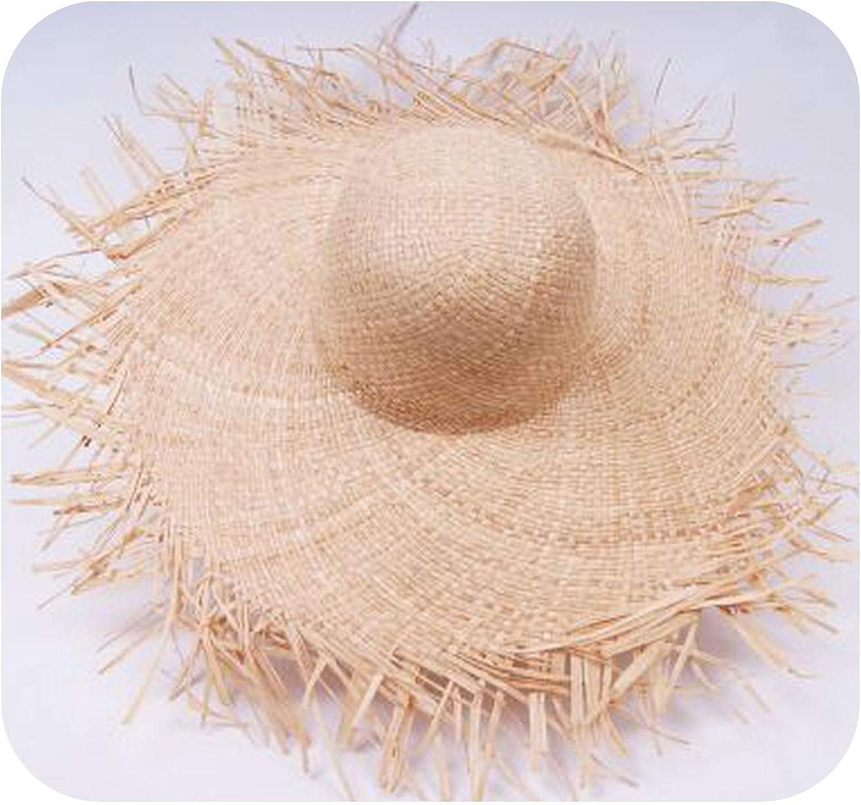 Wenziday Summer Straw Wide Brim Rough Floppy Dome Cloche Bucket Beach Cap Sun Hat for Women