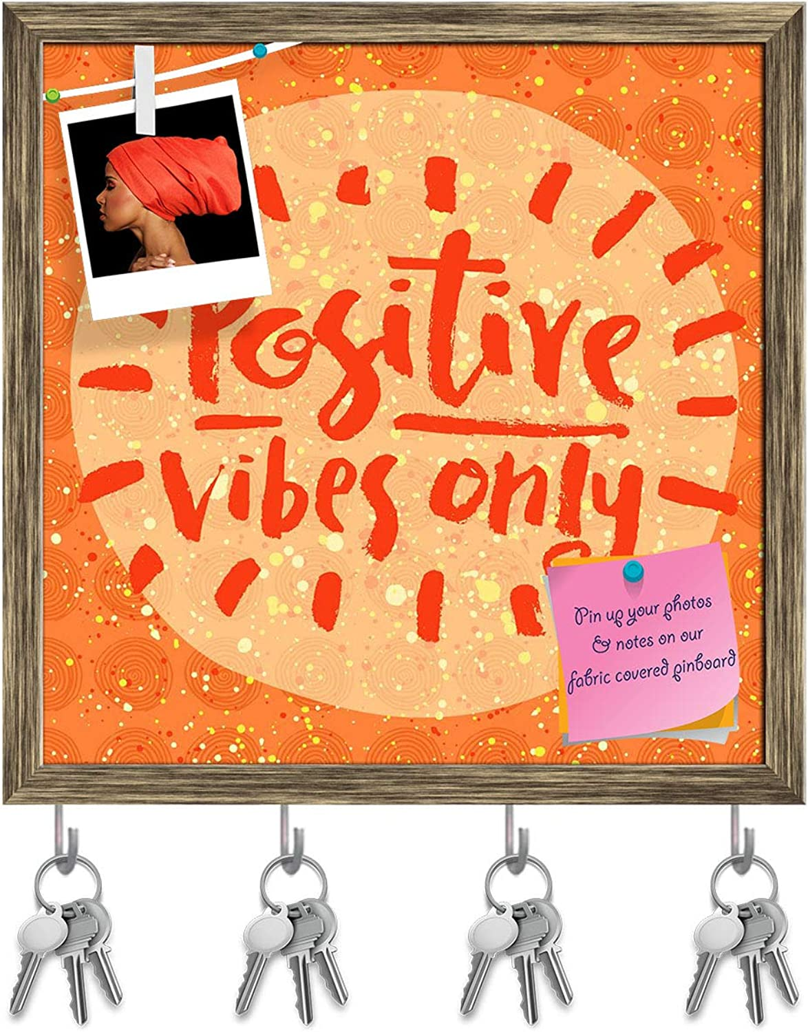 Artzfolio Positive Vibes Only D2 Key Holder Hooks   Notice Pin Board   Antique golden Frame 20 X 20Inch