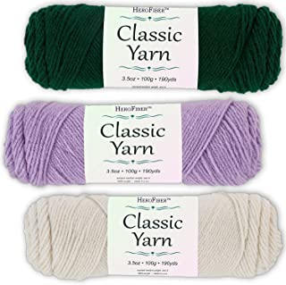 Soft Acrylic Yarn 3-Pack, 3.5oz / Ball, Forest Green + Light Lavender + Eggshell White. Great Value for Knitting, Crochet, Needlework, Arts & Crafts Projects, Gift Set for Beginners and pros Alike