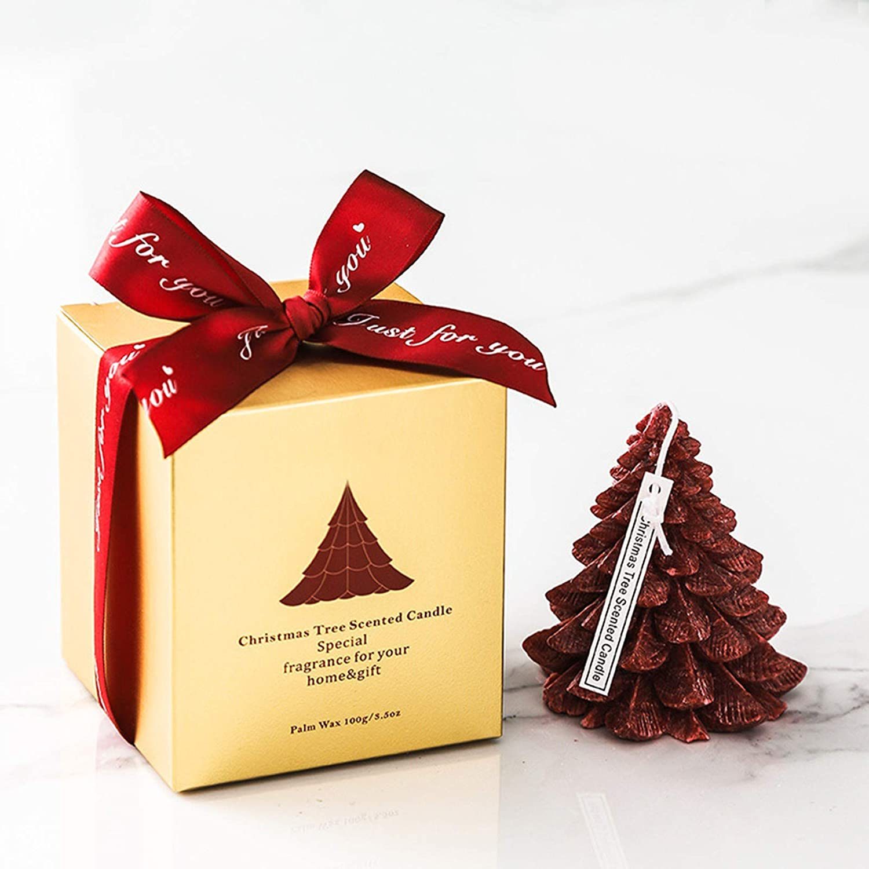 dasg 2021 New Christmas Creative Aromatherapy Candle Beautiful Handmade Christmas Tree Ice Flower Candle for Bath Yoga Tin Fragrance Home Ornament Green