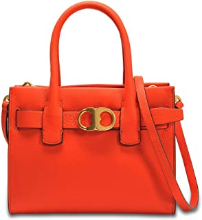 Tory Burch 双子座皮革小号手提包(橙色)