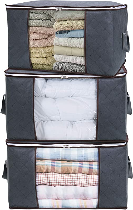 Lifewit Large Capacity Clothes Storage Bag Organizer With Reinforced Handle Thick Fabric For Comforters Blankets Bedding Foldable With Sturdy Zipper Clear Window 3 Pack Grey