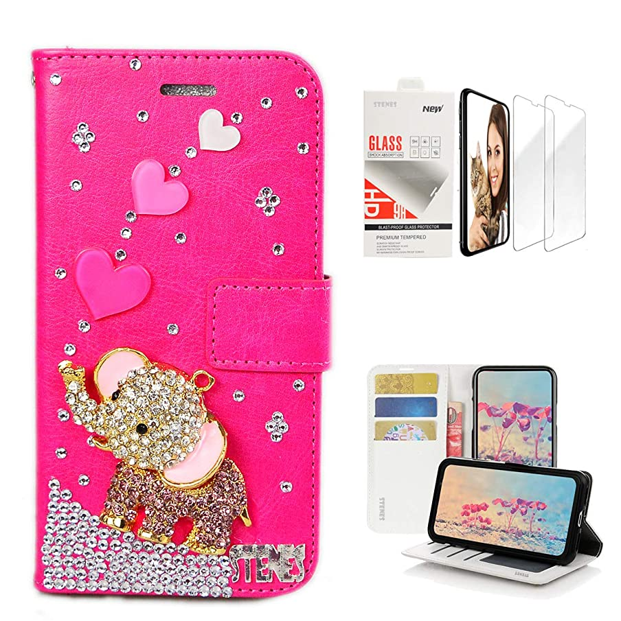 STENES Bling Wallet Case Compatible with Samsung Galaxy S9 Plus - 3D Handmade Heart Cute Elephant Design Leather Case with Wrist Strap & Screen Protector [2 Pack] - Hot Pink