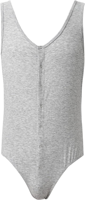Yanarno Men's Sleeveless Skinny Jumpsuit Pajamas Stretchy Rompers Sleepwear One Piece Garment
