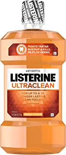 Listerine Ultraclean Oral Care Antiseptic Mouthwash with Everfresh Technology to Help Fight Bad Breath, Gingivitis, Plaque and Tartar, Fresh Citrus, 1.5 l, Pack of 6
