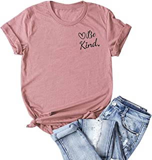 Winsummer Women Be Kind T-Shirt Graphic Tees Funny Printed Summer Short Sleeve Shirts Tops Plus Size S-5XL