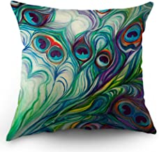 Moslion Peacock Feather Pillow Case Home Decorative Oil Painting Feathers White Blue Pink Throw Pillow Case 18