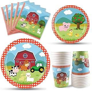 WERNNSAI Farm Animals Party Tableware Set- Disposable Barnyard Party Supplies include Luncheon Napkins Dinner dessert Plat...