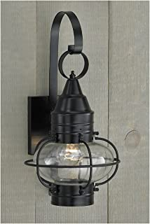 Norwell Lighting 1513 Small Outdoor One Light Classic Onion Wall Mount (Black w/Clear Glass)