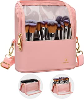 Makeup Brush Case Makeup Brush Holder Travel Makeup Bag for Women Cosmetic Bags Stand-up Brush Cup Professional Makeup Artist Storage Organizer with Shoulder Starp and Adjustable Dividers (Pink)