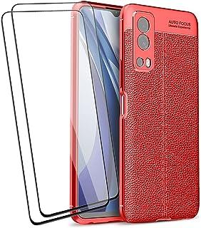 BRAND SET Telefonskydd för Vivo IQOO Z3 5G/Vivo Y72 5G fodral och 2 skärmskydd i härdat glas, premium mjukt gummiskydd dro...