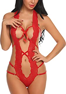 Avidlove Women Deep V Halter Lingerie Teddy One Piece Bodysuit Lace Babydoll (L, Red)