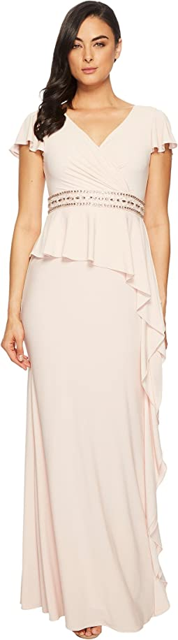 Short Sleeve Draped Jersey Gown with Beaded Waist and Asymmetrical Peplum