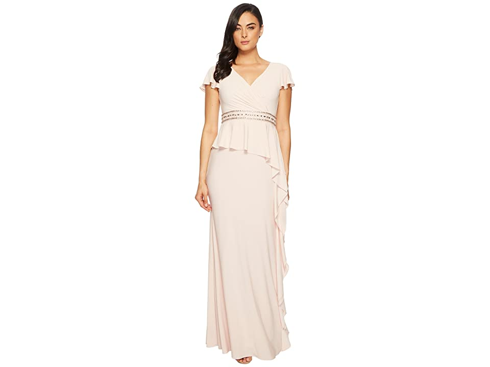 Adrianna Papell Short Sleeve Draped Jersey Gown with Beaded Waist and Asymmetrical Peplum (Blush) Women