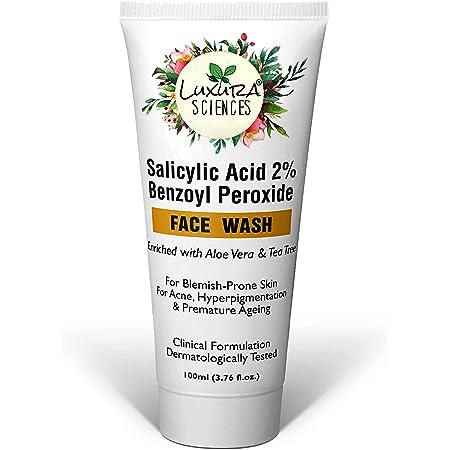 Luxura Sciences Salicylic Acid 2% Face Wash with Niacinamide, Benzoyl Peroxide , Aloe Vera & Tea Tree For Blemish-Prone Skin, Acne, Hyperpigmentation & Premature Ageing.100ml