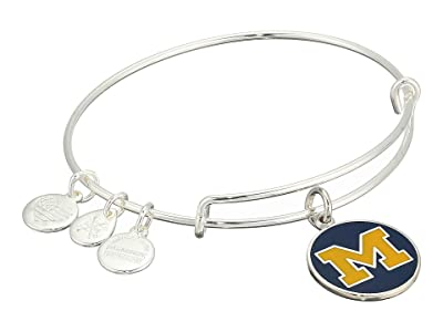 Alex and Ani Color Infusion University of Michigan Logo II Bangle (Shiny Silver) Bracelet
