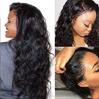 Suerkeep Brazilian Virgin Hair Boody Wave Lace Front Wigs Glueless Human Hair Wigs Pre-Plucked with Baby Hair(16inch, Natural Color)