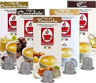 Caffe Bonini Nespresso Compatible Gourmet Espresso Capsules, for Original Line Nespresso Machine,50 Count (Flavored Coffee Variety Pack)