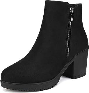 DREAM PAIRS FRE Mujer Elegante Elástico Panel Lateral Zapatos de Tobillo Botas Botas de Tacón Alto para Mujer Negro PU 5 ...