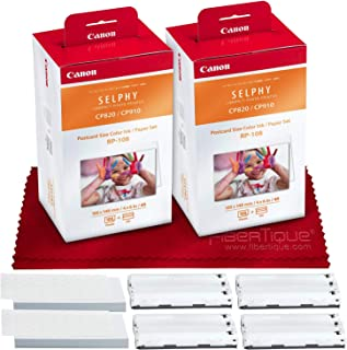 Canon RP-108 High Capacity Color Ink/Paper Set for SELPHY CP910 CP1200, CP1300 Printer Plus Cleaning Cloth