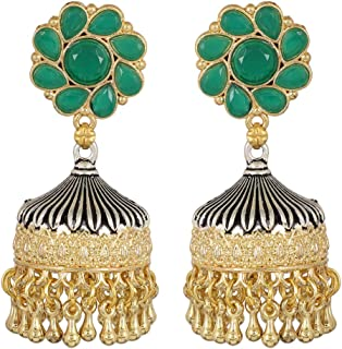 Bollywood Style Oxidized Indian Tradition Golden Tone Fashion Earrings for Women