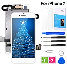 """Pre-Assembled Screen Replacement for iPhone 7 4.7"""", LCD Display Touch Digitizer Replacement with Home Button, Front Camera, Proximity Sensor, Ear Speaker and Repair Tool Kits (White)"""