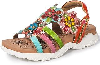 69a4b22a8194d5 Gracosy Sandales de Sports Femmes, Chaussures de Randonnée Marche Été en  Cuir à Scratch à