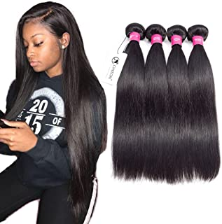 8A Malaysian Virgin Hair Straight 4 Bundles Deals 16 18 20 22 Inches 100% Unprocessed Human Hair Bundles Weave 400g Natural Black Can be Dyed CHEEON
