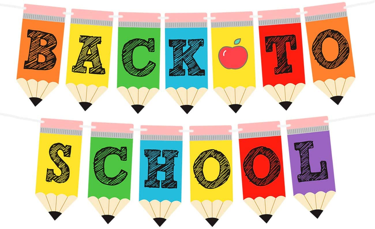 Amazon.com: Back to School Banner - Teacher Banner for First Day of School  Decorations Welcome Back to School Party Classroom Decorations : Home &  Kitchen