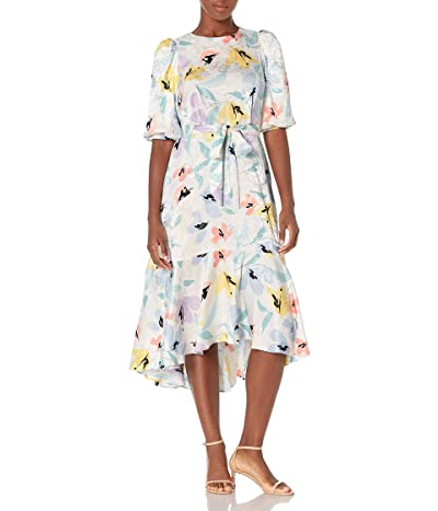 Calvin Klein High Low Dress With Flounce Skirt and Puff Sleeves