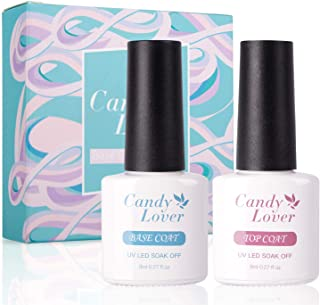 Candy Lover Base and Top Coat Set, UV LED Soak Off New Upgraded Formula Gel Nail Polish - Long Lasting Mirror Shiny Glossy Finish