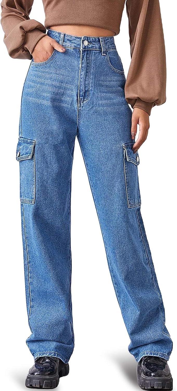 MUMUBREAL Women's High half Waist Baggy Side Charlotte Mall Pocket Flap Relaxe Jeans
