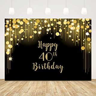 40th Birthday Backdrop Black and Gold Photography Background Glitter Dots Stars Forty Birthday Decorations for Women Men 40 Birthday Banner for Adult Party Cake Table Photo Booth Photoshoot 7x5ft