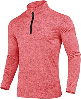 KEFITEVD Men's Spring Autumn 1/4 Zip Sports Tops Casual Long Sleeve Gym Running Polo Shirts Outdoor Warm Hiking Fishing Sh...