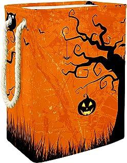 EZIOLY Panier à linge pliable style grunge Halloween avec poignées et supports amovibles et étanche pour organiser les vêt...