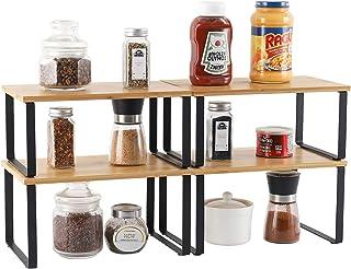 Lot de 4 étagères de rangement en métal pour placard de cuisine, Bambou Etagère Vaisselle, Organisation placard cuisine,co...