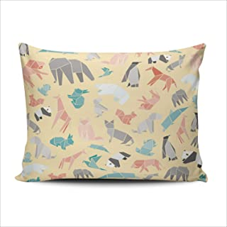 Fanaing Bedroom Custom Decor Origami Paper Animals Pillowcase Soft Zippered Throw Pillow Cover Cushion Case One Sided Printed Boudoir 12x18 Inches