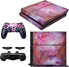 eXtremeRate Full Set Faceplate Skin Decals Stickers and 2 Led Lightbar for Playstaiton 4/PS4 Console & 2 Controller - Gala...